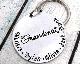 Hand Stamped KeyChain - Personalized Mother's Day Keychain - Gift for Grandma - Mom Personalized Keychain  - Hand Stamped Keychain (010)