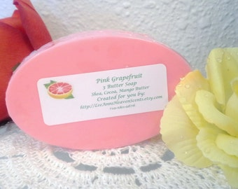 Fresh Citrus Three Butter Soap-Pink Grapefruit, Tangerine, Lemongrass Verbena, Orange Burst...You Choose Fragrance
