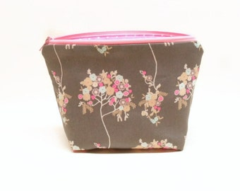 makeup bag zipper bag cosmetic pouch flower makeup bag pink and blue flowers on gray