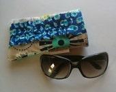 Sunglass Case, Glasses Case, Gray, Navy and Aqua with Navy Polka Dot Ruffle and Lining, Ready to Ship