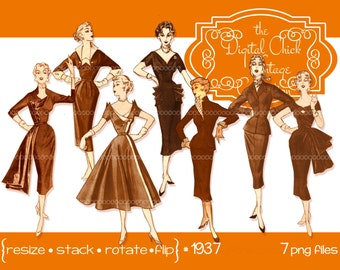 Digital Clipart, instant download, Vintage Women Clipart, sepia, ladies 1950s fashions 1940s fashions, PNG files 1937