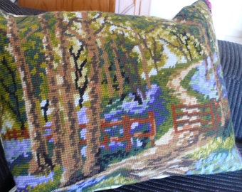 Bluebell wood tapestry wool cushion needlepoint pillow