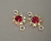 2pcs - Connector Charm Silver Brass  Ruby and AB Crystal Rhinestones.
