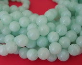 Light Cyan  Jade Beads Natural Gemstone Round 8mm.