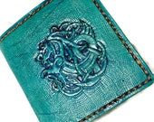 Celtic Horse Leather Wallet for Men in a lovely light Blue-green color. Irish knotwork makes a wonderful handmade gift for any occasion.