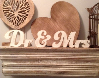 Wooden Wedding Letters - Dr & Mrs - New Funky Font, Hand-painted, Free-standing, 10cm