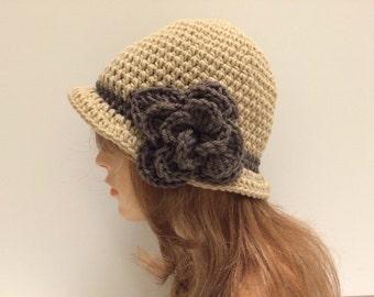 SALE Crochet Cloche Flapper a Hat - LACE/Dark Taupe