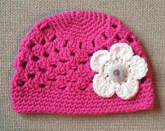 Spring Sunshine Beanie with 3 Interchangeable Flowers (Newborn, 3-6 month, & 6-12 month sizes) - knit, hat, cloche, baby, newborn, photo