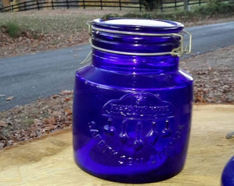 Cobalt Canister Early Century Canning Jar Stunning