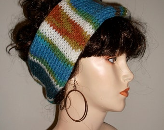 Hand Knitted Headband, Wide Womens Headband, Thich Knit Ear Warmer, Reversible Headband, in Multi Colors