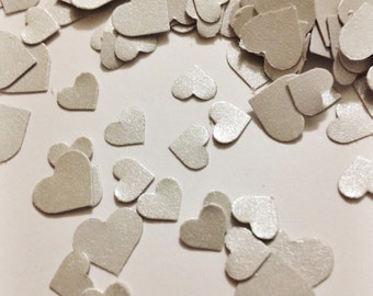 Silver Shimmer Hearts Adorable Heart Confetti in Metallic Silver over 500 hearts Grey Hearts Shiny Silver Hearts