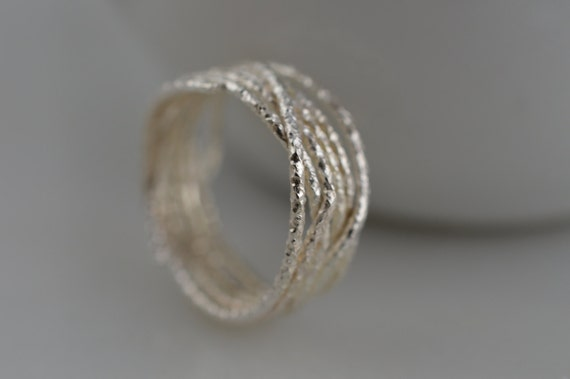Sterling Silver Open Weave Nest Ring - Organic Nature Inspired Ring