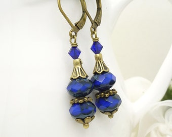 Cobalt blue earrings, royal blue glass bead earrings, vintage style czech glass and antique bronze jewelry