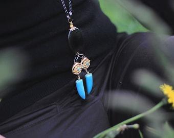 Azur Turquoise! long necklace(unique,original,ethnique,boho,agathe)by ISLA bijoux et accessoires FRANCE