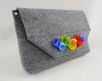 Lovely handmade fashionable small size felt bag felt purse felted wool handbag cross body with flowers - Grey and Colorful flowers
