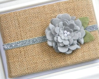 Grey Felt Flower Headband - Baby Headband - Toddler Headband - Silver Glitter Headband