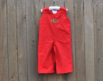 Christmas Red Jon Jon, romper, longalls shortall, many colors, eco-friendly... size 3m,6m,9m,12m,18m,2t,3t,4t