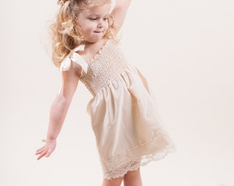 Lace Flower Girl Dress...Rustic Wedding... Cream, Ivory or White... Eco-friendly...6m,9m,12m,18m,2t,3t,4t,5,6,7,8