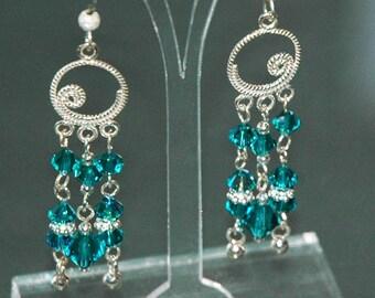 Blue Zircon Earrings Swarovski Earrings Drop Earrings Silver Earrings Crystal Earrings Swarovski Crystal December Chandelier Earrings