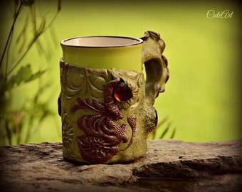 Coffee or tea mug with polymer clay decoration