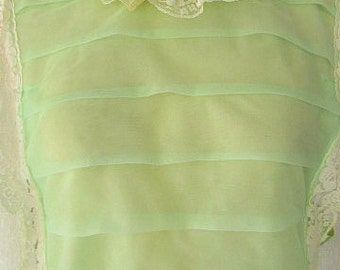 vintage 60s mint sheer chiffon tiered layers sissy nightgown nightie babydoll miss elaine union made usa