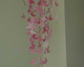 Pink Delicate Butterfly Mobile Large