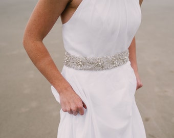 GARDENIA - Rhinestone Pearl Beaded Bridal Sash, Wedding Belt