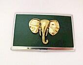 Credit Card Holder Business Card Holder,  Brass Elephant
