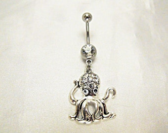 Belly Ring,  Silver Octopus  With Clear Crystal Rhinestone Womens Gift Handmade