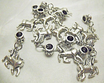 Silver Unicorn Charms,  Double Sided,  Lot of 10 with Bails   Jewelry Making Supplies