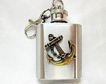 Flask,   Steampunk Bronze Anchor Mini Key Chain Flask 1 Ounce Mens Womens Gift Handmade