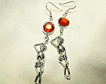 Silver Dangle Earrings,   Gothic Halloween Hanging Skeleton With Red Rhinestones   Womens Gift Handmade