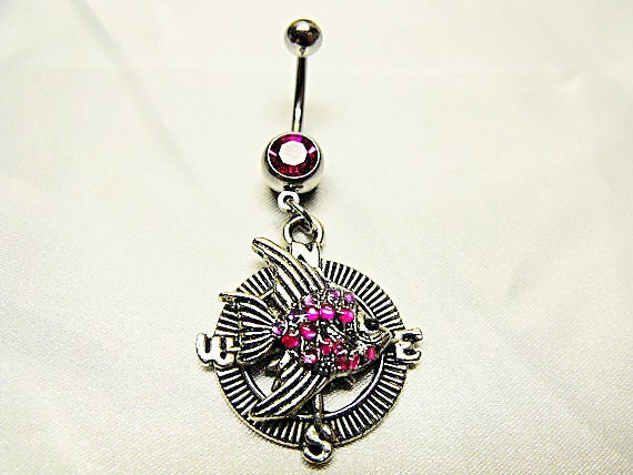 Belly Ring,    Tropical Fish And Compass With Pink Rhinestones Womens Gift Handmade