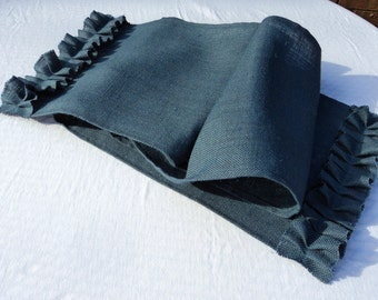 "Navy Blue Burlap Table Runner 14"" Wide Many Widths to Choose From or Custom Size"