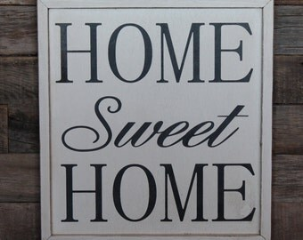 Large Wood Sign - Home Sweet Home -  Framed Subway Sign