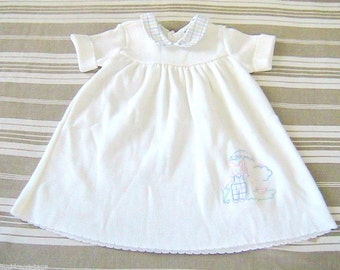French 1960s Baby Girl White Dress - Embroidered Rabbit - MADE IN FRANCE - New - 12 m