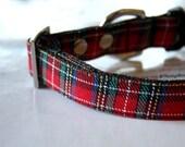 Red Tartan Plaid Dog Collar