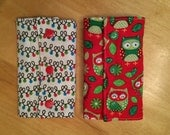 Reversible Christmas Theme Suck Pads - Protects Shoulder Straps from Drool and Teething - Fits Ergo & Tulas - Xmas Owls and Lights