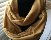 Gold Shimmer Infinity Scarf - Adult Golden Sparkle Scarf - Great Accessory For Any Outfit