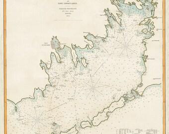 1876 Nautical Chart of Buzzard's Bay