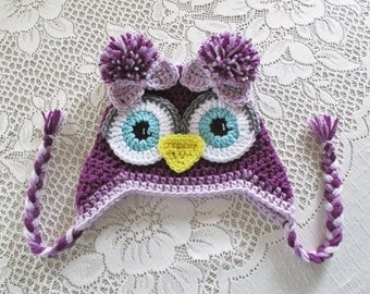 Shades of Purple Crochet Owl Hat - Photo Prop - Available in Any Size