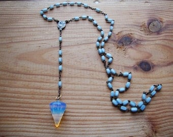 Vintage aged rosary converted into pendulum with opalite