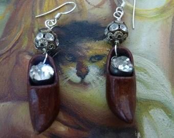 LITTLE WOODEN SHOE vintage assemblage rhinestone antique earrings