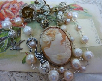 LADY ROSE STERLING filigree antique cameo vintage assemblage necklace