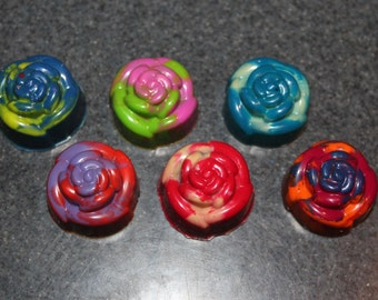 Recycled Crayons. Flower Crayons. Kids Crayons. Flowers. Rose. Easter. Spring. Party Favors. Rose Crayons. Rainbow Crayons.