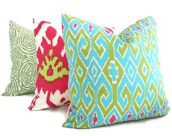 Quadrille China Seas Aquarius Turquoise, Green and Magenta Pillow Cover Square, Eurosham or Lumbar pillow Accent Pillow, Throw Pillow