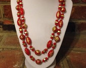 Beautiful Red & Gold Vintage Two Strand Asian Inspired Necklace 1980s