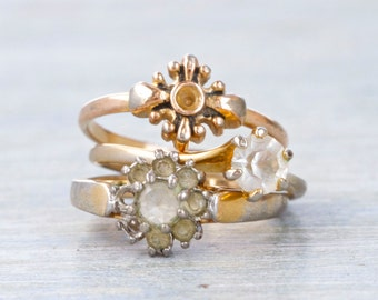 Vintage Stacking Rings - Set of 3 Rings with Rhinestones Size 6.5