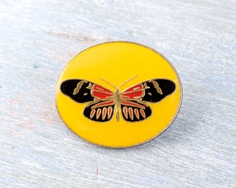 Butterfly Badge - Yellow Oval Lapel Pin