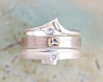 Vintage Stacking Rings in Sterling Silver - set of 3 Stackable Rings with Rhinestones - Size 6.5